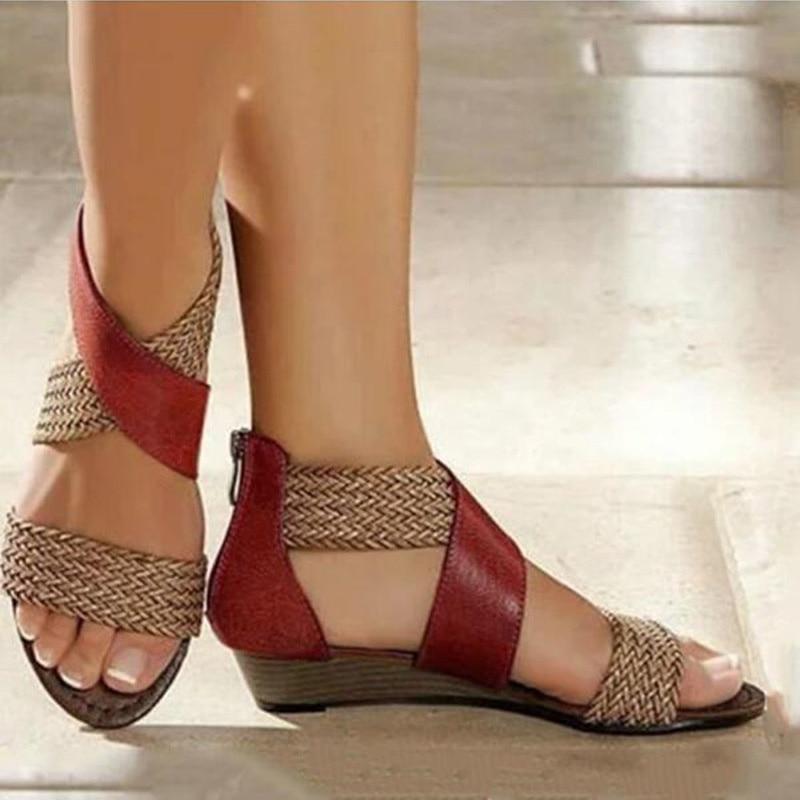 Bohemia Beach Sandals Women Fashion Plus Size Comfortable Summer Shoes Woman Retro Weave Casual Wedge Female Sandals 2020 VT1155