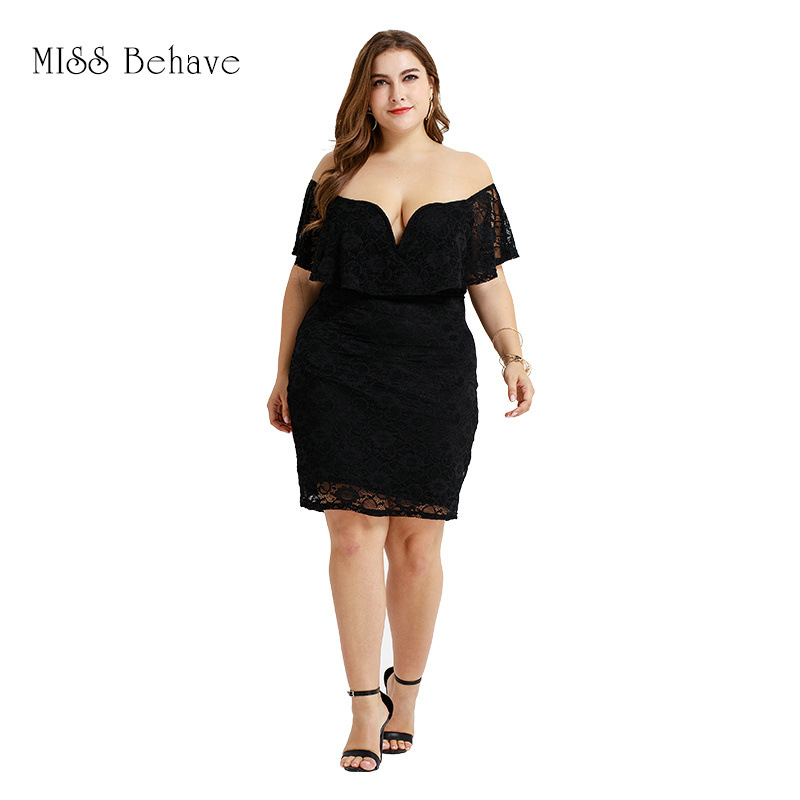 Europe And America Large Size Dress 2019 Summer New Style Lace Short Skirt Off-Shoulder Sexy Sheath Dress