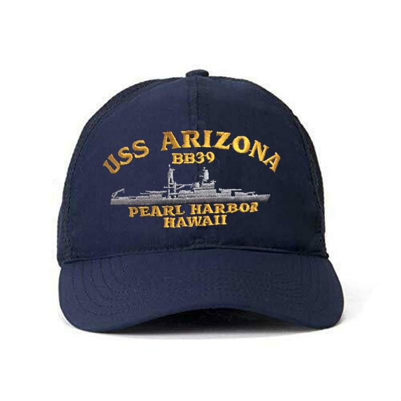 Printed USS Arizona BB-39 Pearl Harbor Hawaii Snap Back Hat Cap USA NAVY SHIP