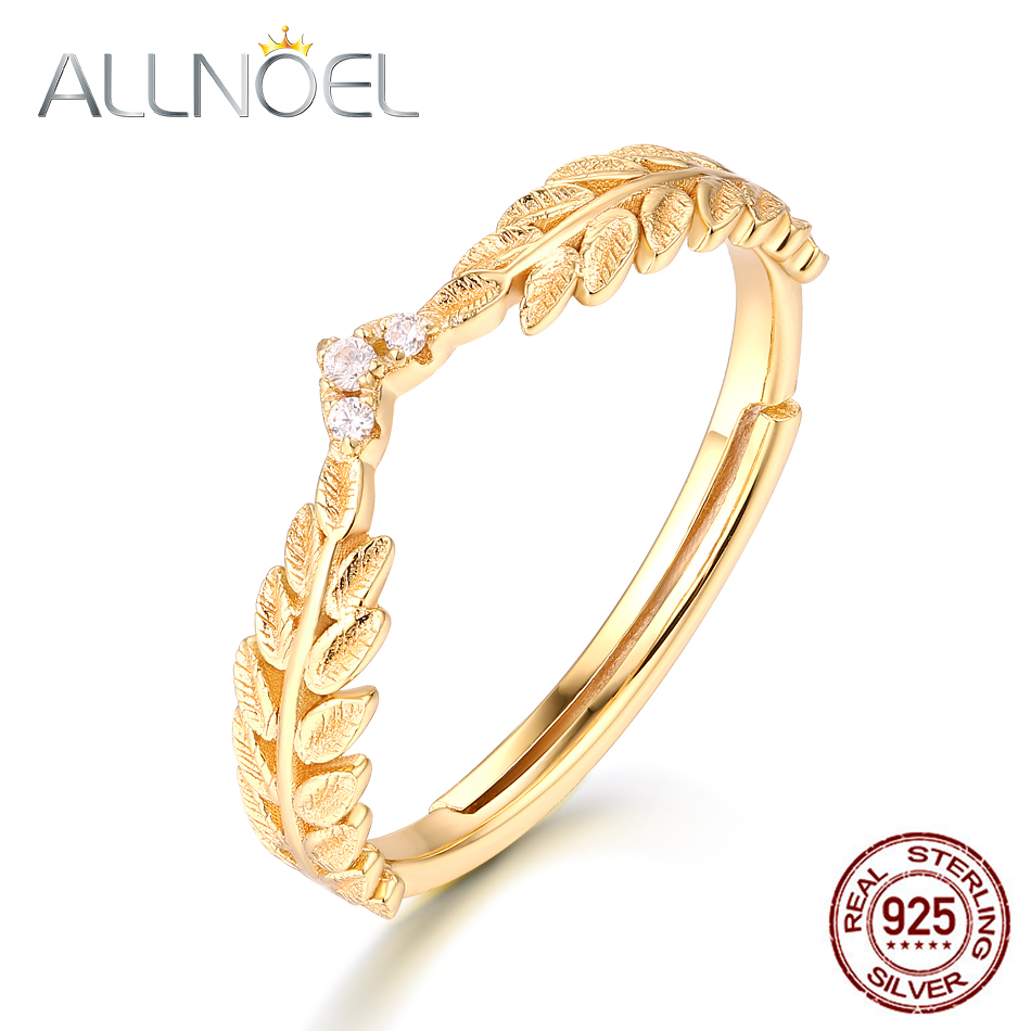 ALLNOEL Silver 925 Jewelry Fashion Olive Leaf Ring Real Gold Plated  Wedding Band Fine Jewelry Wholesale Lots Bulk Trendy Rings
