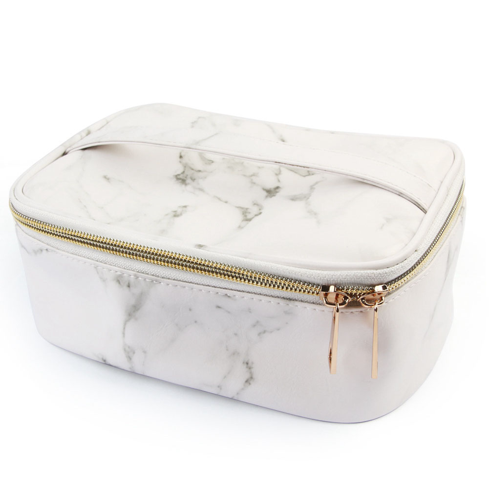 Makeup Organizer Travel Storage Durable Carry Pouch Business Gifts Large Capacity Toiletry Fashion PU Marble Grain Cosmetic Bag