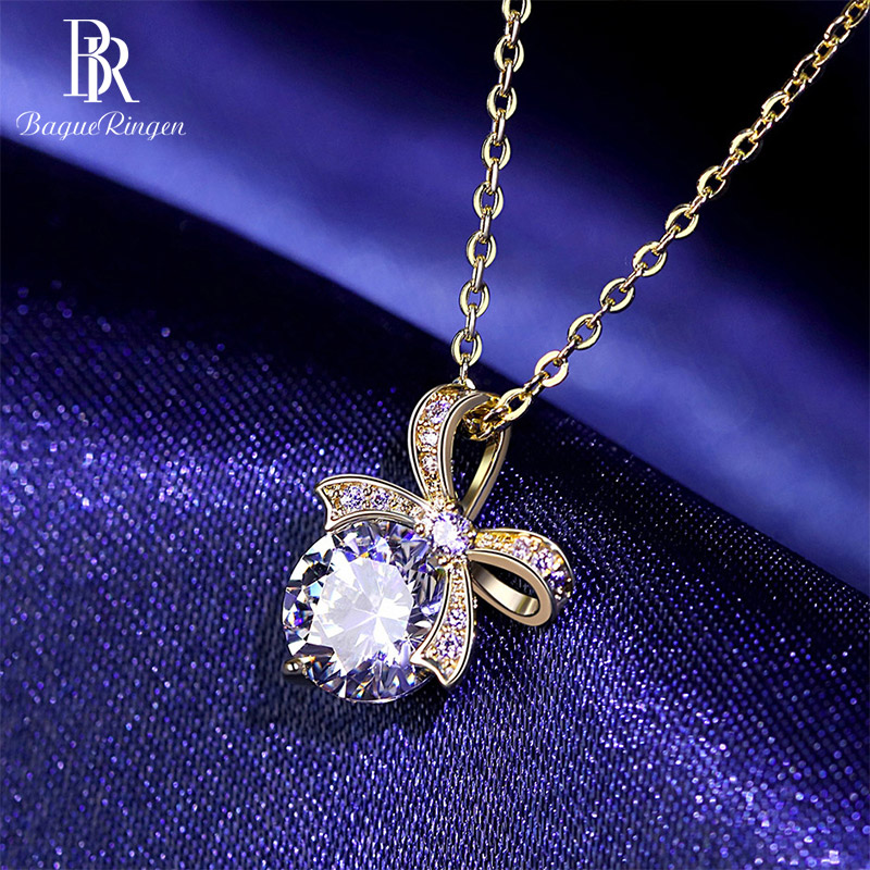 Bague Ringen New Arrivals Silver 925 Jewelry Women Necklaces Spinel Bow Pendant Silver Jewlery Wholesale Female Party Gifts