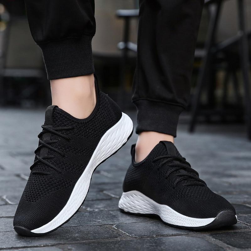 Дышащие мужские кроссовки; Мужская обувь для взрослых; цвет красный, черный, серый; высокое качество; удобные нескользящие мужские туфли из мягкой сетки; сезон лето; размеры 38 47 - 3
