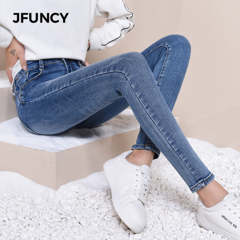 JFUNCY Women High Waist Skinny Jeans Mujer 2019 Slim Stretch Jeans Plus Size Spring Pencil Denim Pants Lady Woman Jeans