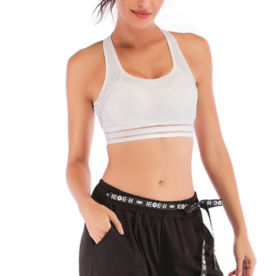 Women Yoga Sports Bra Fitness Padded Gym Cross Back Anti Impact Workout Running Non Wired
