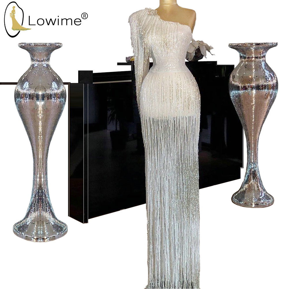 Gorgeous Full Beading One Shoulder Mermaid Evening Dresses Middle East Long Robes De Soiree Prom Party Gowns