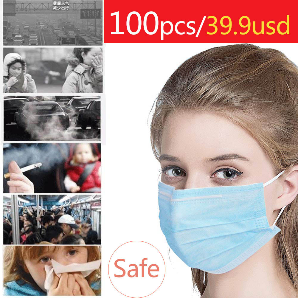 Disposable Face Mouth 100pcs Masks Protective PM2.5  Elastic Ear Loop Disposable Dust Filter 3-Layer Safety Mask
