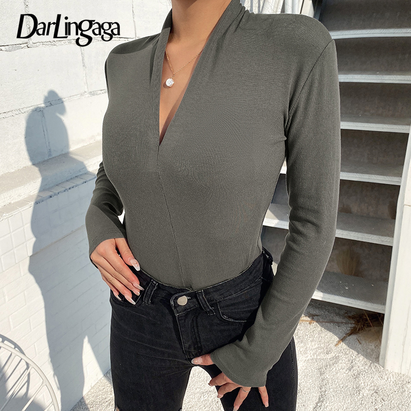 Darlingaga V Neck Ribbed Bodycon Long Sleeve Bodysuit Female Body Solid Casual Basic Spring Sheer Bodysuits Ladies Jumpsuit 2020