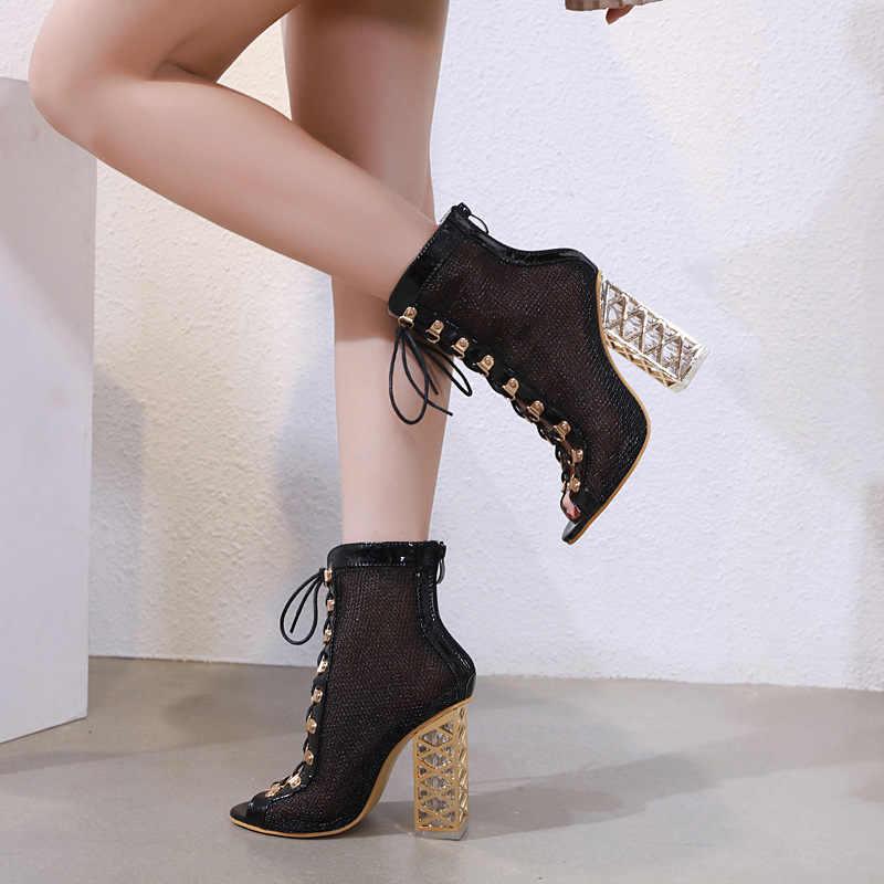 2019 seksi file kumaş kadın yarım çizmeler, sandalet, çapraz bağlı fishmouth kadın kısa yağmur çizmeleri parti kalın topuklu ayakkabılar kadın
