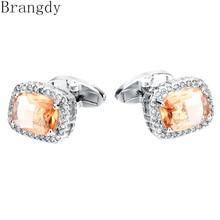 Brangdy High-end brand zircon crystal cufflinks business mens French shirt cufflink
