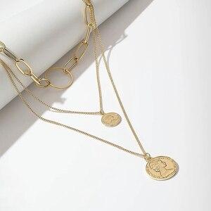 Vintage Runde Portrait Münze Anhänger Halskette Gold Farbe Halsband Halskette Weibliche Multi Schicht Kragen Aussage Charme Punk Gold Geschenk