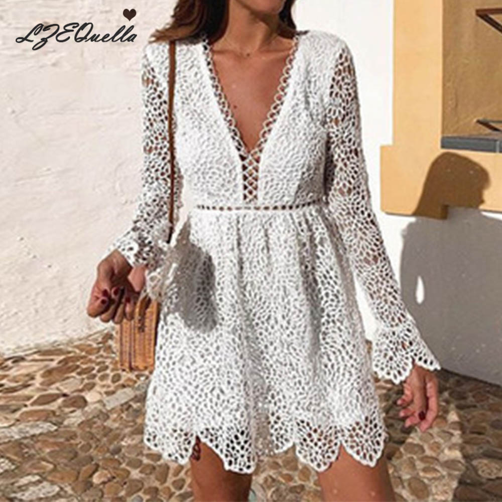 LZEQuella Sexy Lace Embroidery Women Elegant Flare Sleeve Dress Female Party Ruffled Ladies Summer Dresses Vestidos NZ1658