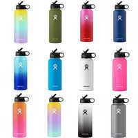Flacon hydraulique 18 oz/32 oz/40 oz flacon à vide isolé Thermos en acier inoxydable paille bouteille d'eau large bouche Sport voyage bouteilles