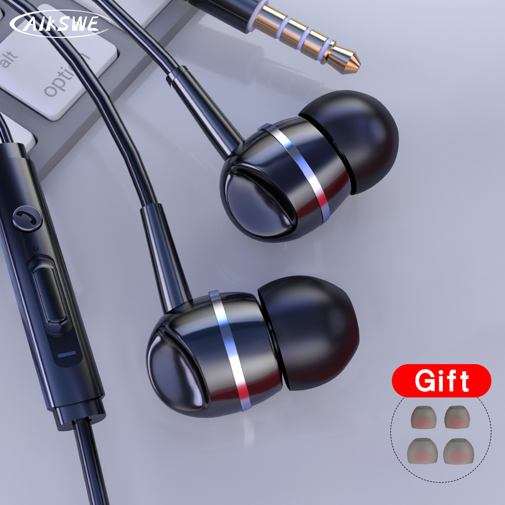 3.5mm Wired In-Ear Earphones With Mic Earpiece Comforted Earbud Volume Control Stereo Sport Headset For Computer PC