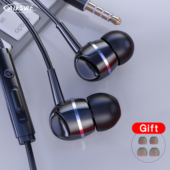 AIKSWE 3.5mm Wired In-Ear Earphones With Mic Earpiece Comforted Earbud Volume Control Stereo Sport Headset For Computer PC 2020 newest wired earphones in ear super bass earbud headphone with mic for samsung phones sport stereo headset