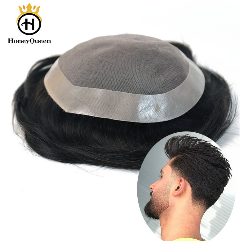 Hair Toupee Mono System Men Natural Looking 100% European Human Hair Toupee PU Replacement System 1# 1B 3# Color Remy Hair