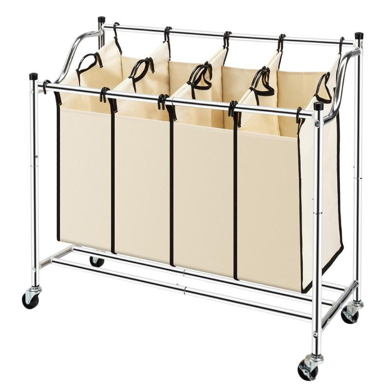 Laundry Sorter Heavy-Duty Rolling Laundry Hamper Cart W/ 4 Removable Bags