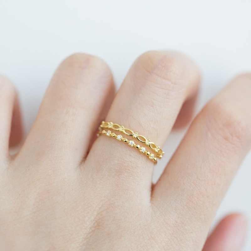 2 יחידות\סט של זהב דק טבעת מעוקב זירקון CZ גבירותיי נסיעות תכשיטי אופנה מתנות אלגנטי טמפרמנט נשי טבעת