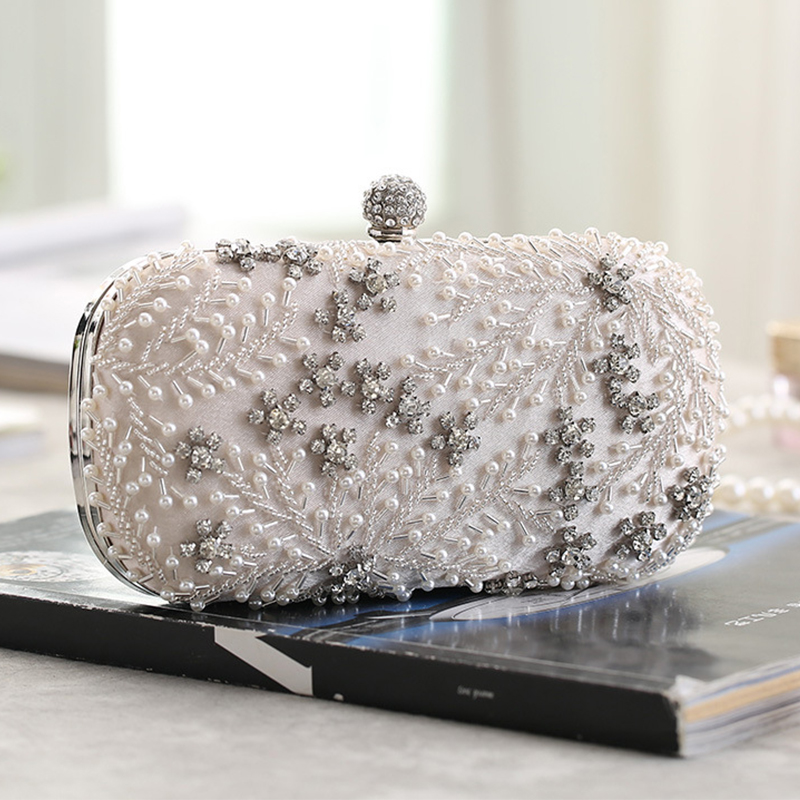 Women's Clutch Bag Crystal Pearl Clutch Purse Luxury Handbag Embroidery Evening Bag Wedding Bag For Bridal Shoulder Bag ZD1529