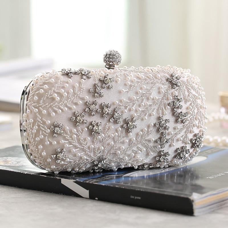 Women's Clutch Bag Crystal Pearl Clutch Purse Luxury Handbag Embroidery Evening Bag Wedding Bag For Bridal Shoulder Bag ZD1529