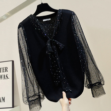 Sequin Lace-up Bow Gauze Joint Sweater Women Fashion Elegant Slit Tops Jumper Femme Spring Knitted Shirt Lady's Tops lace up slit asymmetric sweater