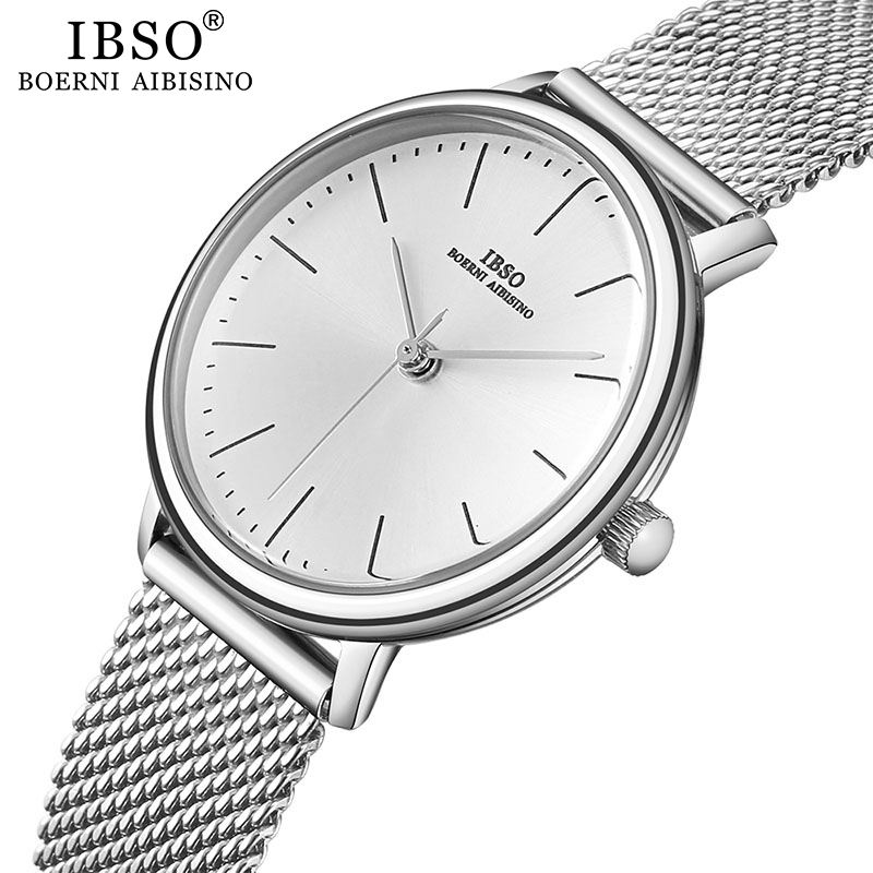 IBSO ブランドの女性のクォーツ時計 8  ミリメートル超薄型メッシュステンレススチールストラップクォーツ時計時間女性シンプルなレロジオ masculino     グループ上の 腕時計 からの レディース腕時計 の中