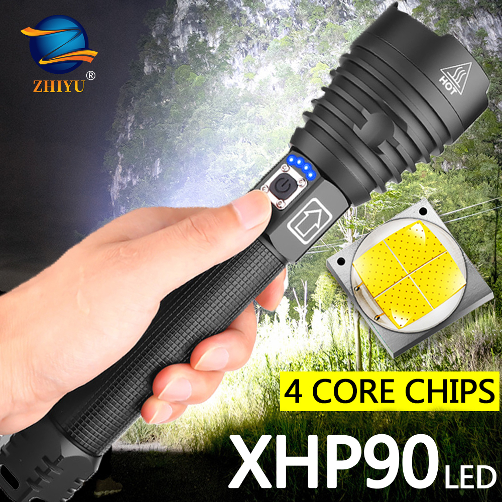 Powerful Flashlight Torch-Use XHP90 Usb Rechargeable Large-Capacity 26650 Battery Waterproof