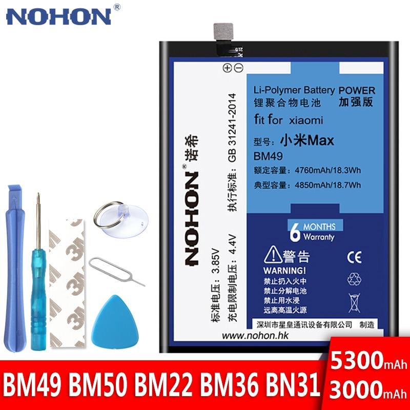Batterie NOHON pour Xiao mi mi Max 2 5 5 S 5X mi 5 mi 5 S mi 5X BM49 BM50 BM22 BM36 BN31 Batteries de remplacement haute capacité outils gratuits