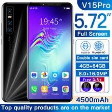 Versione globale V15 Pro Smartphone 4GB 64GB 8.0MP 16.0MP fotocamera 4500mAh batteria Android 9.1 Smartphone