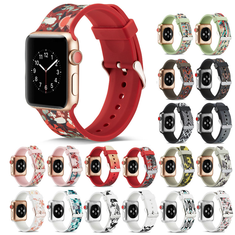 Silicone Strap For Apple watch band 44mm 40mm band iwatch 42mm 38mm Printing watchband bracelet Apple watch 5 4 3 2 Accessories
