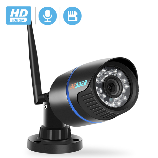 BESDER1080P IP Camera Wifi IR Night Vision SD Card Wireless Camera 2MP Audio Record Bullet Onvif CCTV Outdoor Video Surveillance