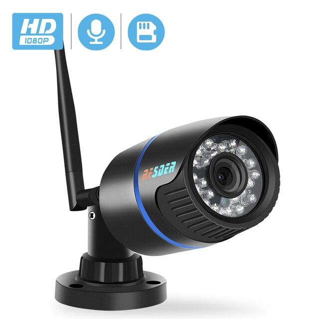BESDER1080P IP 카메라 와이파이 IR 나이트 비전 SD 카드 무선 카메라 2MP 오디오 기록 총알 Onvif CCTV 야외 비디오 감시