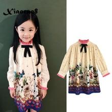 Autumn girls long sleeve dress kids print floral elegant bow princess dresses for girls cute elastic chiffon dress child clothes