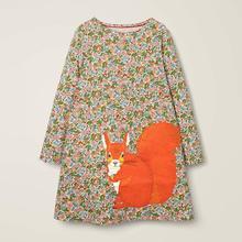 Wenig maven kinder marke herbst kinder kleid neue baby mädchen kleidung Baumwolle tier applique mädchen kleider