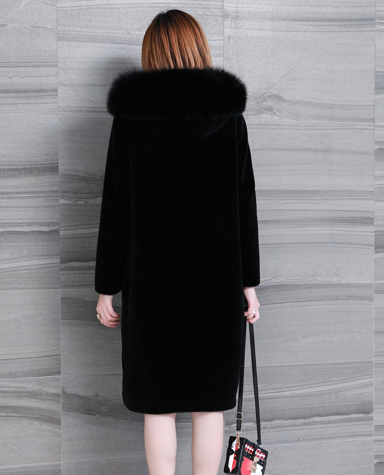 Sheap Shearing Overcoat Women Real Fur Coat 2020 Winter Long Parka Real Fox Fur Collar Warm Jacket Tops Plus SIze 5XL 6XL LX2499