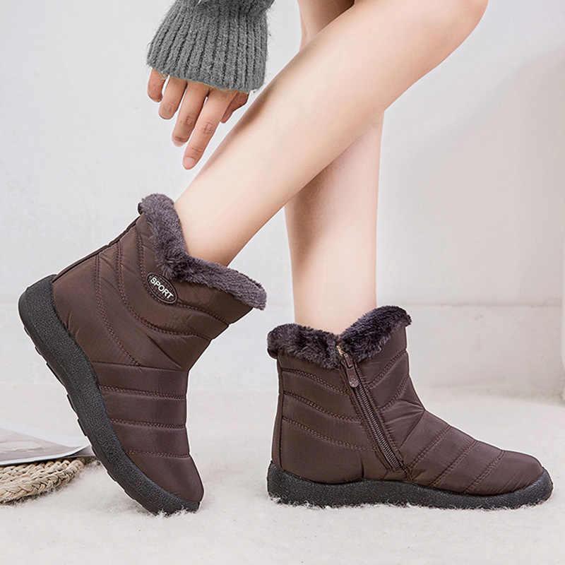 2019 Winter Vrouwen Schoenen Waterdicht Enkellaarsjes Pluche Warme Schoenen Vrouw Trainers Schoenen Rubber Laarzen Voor Vrouwen Chaussure Femme