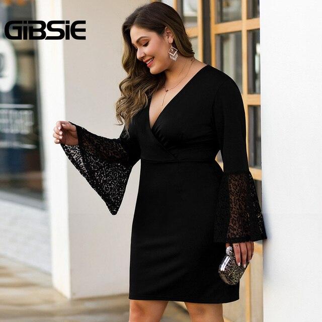 GIBSIE Women Black Elegant Lace Flare Long Sleeve Party Bodycon Dress Autumn winter Office Lady Plus Size V-Neck Mini Dresses 1