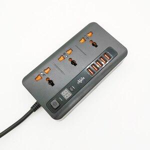 Image 2 - Multiprise protection contre les surtensions prises universelles AU/US/ue/royaume uni prise électrique avec USB 3.4A chargeur adaptateur 2m rallonge