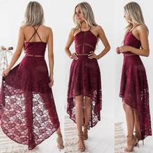New Women Sexy Hollow Out Lace Stitching Straped Dress Female Sleeveless Spaghetti Strap Halter Long Dress Summer Autumn 2019