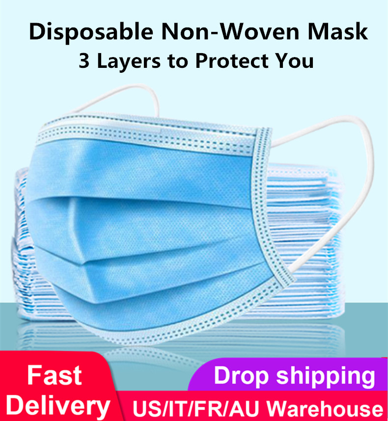 Dropshipping Disposable Mouth Mask 3-Layer Non-woven Face Mask Anti Dust Mouth Nose Cover Respirators Unisex Bule Color Packing