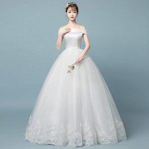 Image 2 - Boot ausschnitt Spitze Hochzeit Kleid 2019 Neue Fashion Floral Print Prinzessin Traum Braut weg von der schulter Koreanische vestido de noiva