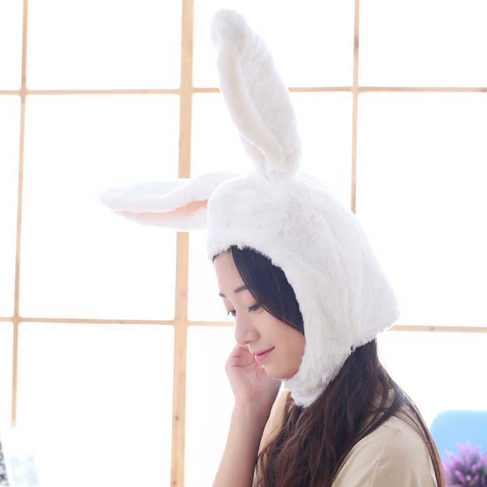 Cute Girl Hats Plush Rabbit Bunny Ears Hat Earflap Caps Head Warm Beanie Cosplay