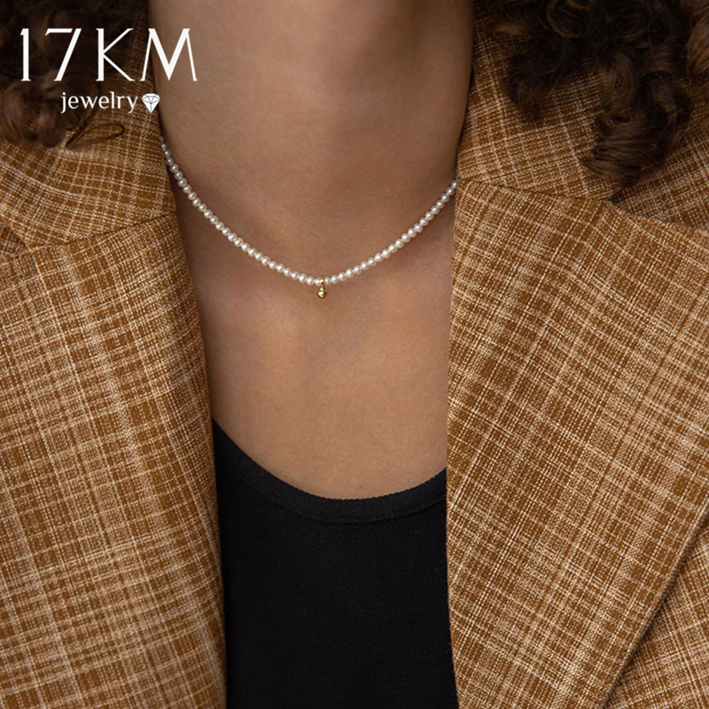 17KM Fashion Bead Pearl Choker Necklace For Women Elegant Simple Pearl Pendant Necklace Wedding Jewelry 2021