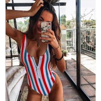 New Sexy Zipper One Piece Swimsuit Women Swimwear Push Up Monokini Bodysuit Swimsuit Print Bathing Suit Summer Beachwear XL 20