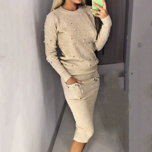 Winter Autumn sweater set for ladies O neck 2 piece sets womens outfits Office Lady Pullover Beading Elastic Waist knit sweater
