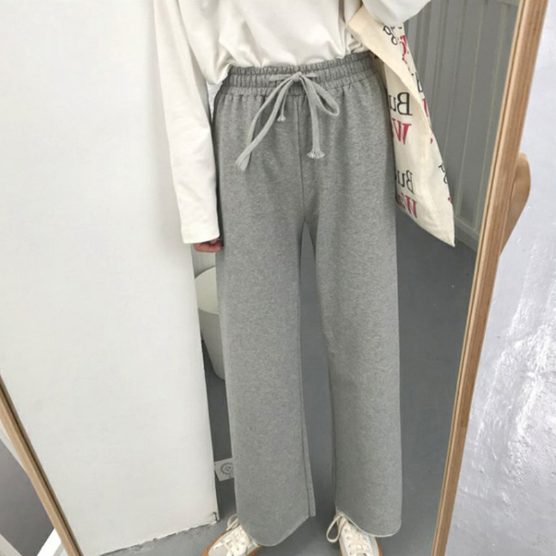 Women Casual Wide Leg Pants Korean Style Loose High Waist Sports Daily Trousers  GDD99