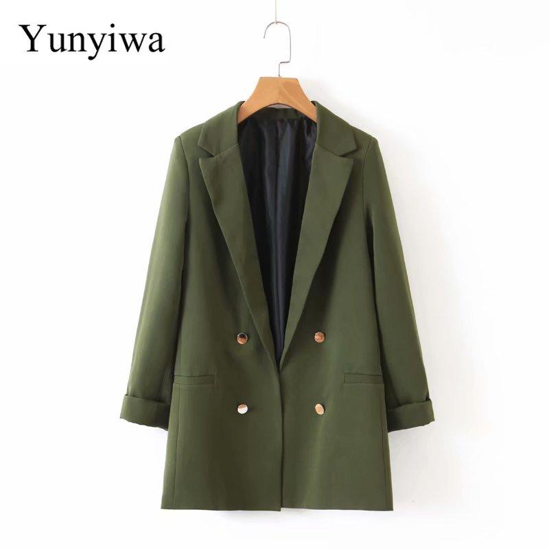 2020 Autumn Women Chic Army Green Blazer Decorate Button Open Stitch Pockets Back Split Female Work Wear Stylish Coat