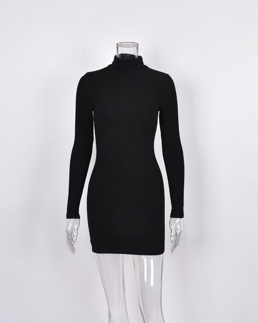 New Women's Wear Short Sexy Black Dress High Collar Long Sleeve 3