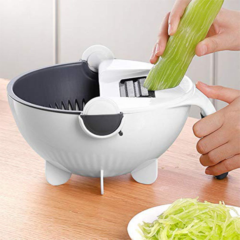 WALFOS Magic Multifunctional Rotate Vegetable Cutter With Drain Basket Kitchen Veggie Fruit Shredder Grater Slicer Drop Shipping 4