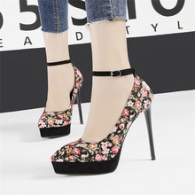 Sexy Ankle Strap Platform Stiletto Ladies High Heels Print Women's Wedding Dress Shoes Pointed Toe High-heeled Pumps Shoes Women